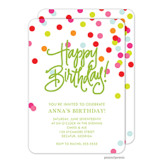 : Happy Birthday! Confetti Invitation
