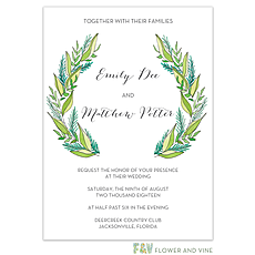 greenery wedding invitation: Modern Greenery Invitation