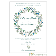 greenery wedding invitation: Blue and Green Floral Invitation