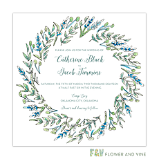 Blue and Green Floral Invitation -