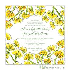 : Yellow Vines Invitation