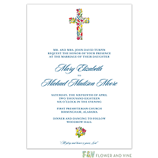 : Floral Cross Invitation