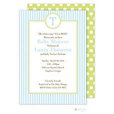 : Blue Stripes Monogram Invitation