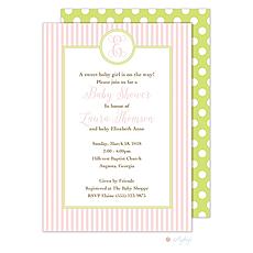 : Pink Stripes Monogram Invitation