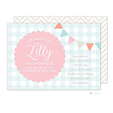 : Bunting Gingham Invitation