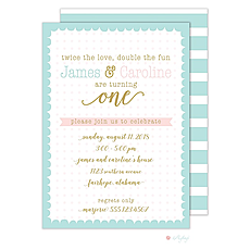 : Scallop Dots Twins Birthday Invitation
