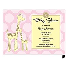 : Pink giraffe baby shower invitation