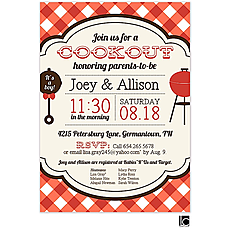 : Red Check Cookout Invitation