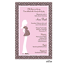 Pink Pregnant Lady Invitation -