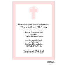 Pink Baptism Invitation -