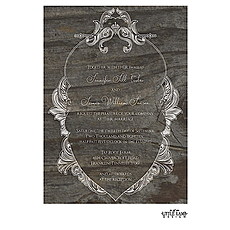 : Ornate Wreath On Wood Invitation