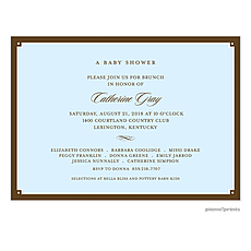 Simple Frame Wide Baby Blue Invitation -