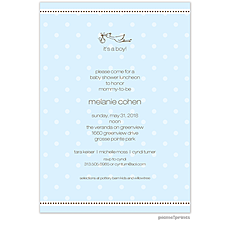 : A Kiss Goodnight Baby Blue Invitation