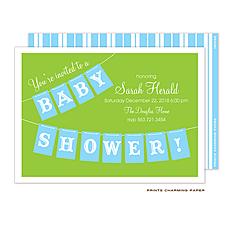 : Blue Baby Shower Banner Invitation