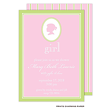 : Sweet Girl Silhouette Shower Invitation