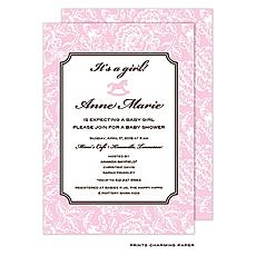 : Pink Floral Damask Invitation