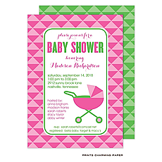 : Chic Pink Baby Carriage Shower Invitation