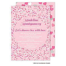: Pink Confetti Hearts Baby Shower Invitation