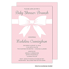 : Sweet Pink Baby Shower Bow Invitation