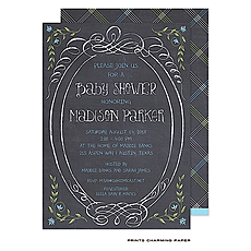 Sweet Blue Chalkboard Baby Shower Invitation -