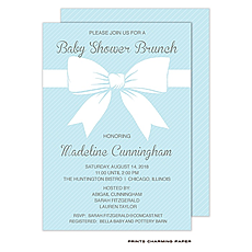 Sweet Blue Baby Shower Bow Invitation -