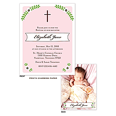 Cross and Foliage with Pink Border Sweet Petite Photo Birth Announcement -