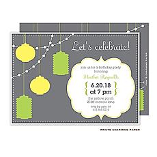 : Party Lanterns on Grey Invitation