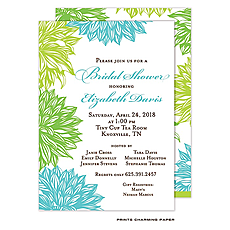 Blue and Green Flower Invitation -