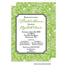 Green Floral Damask Invitation -
