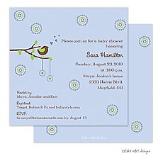 : Cheeping Hearts Blue Invitation
