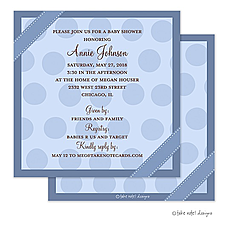 : Blue Dots Ribbon Wrap Invitation