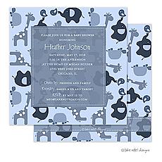 : Modern Blue Animal Print Invitation