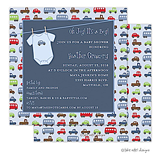 Car Print Onesie Invitation -