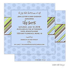 : Pin Stripe Boy on Dots Invitation