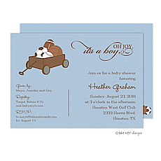 : All Boy Baby Wagon Invitation