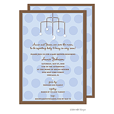 : Stars and Moon Mobile Blue Invitation