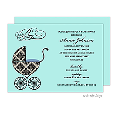 Fancy Carriage Damask Blue Invitation -