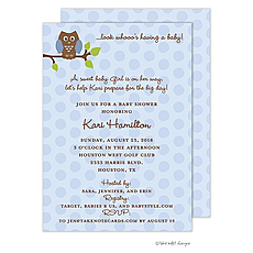 : Blue Owl Polka Invitation