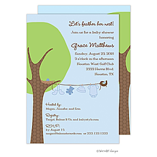 : Little Boy Clothes Line Invitation