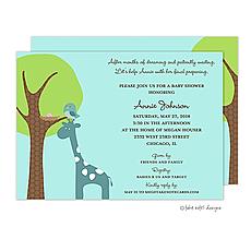: Giraffe Lift Baby Girl Invitation