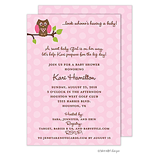 : Pink Owl Polka Invitation