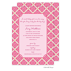 : Pink and Green Floral Grid Invitation