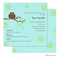 : Green on Green Owl Invitation