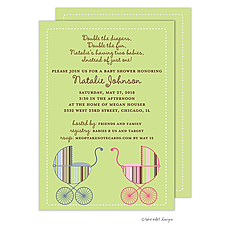 : Stripe Carriage Twin Boy/Girl Invitation