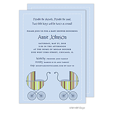 : Striped Boy Twin Carriage Invitation