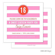 Preppy Pink Orange Dot Invitation -
