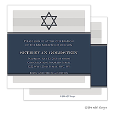 : Navy Wrap with Star of David Invitation