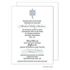 Ornate Cross Scroll Accent Blue Invitation -