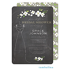 Floral Dress Chalkboard Invitation -