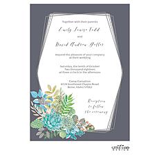 : Bright Succulents Foil-Pressed Invitation